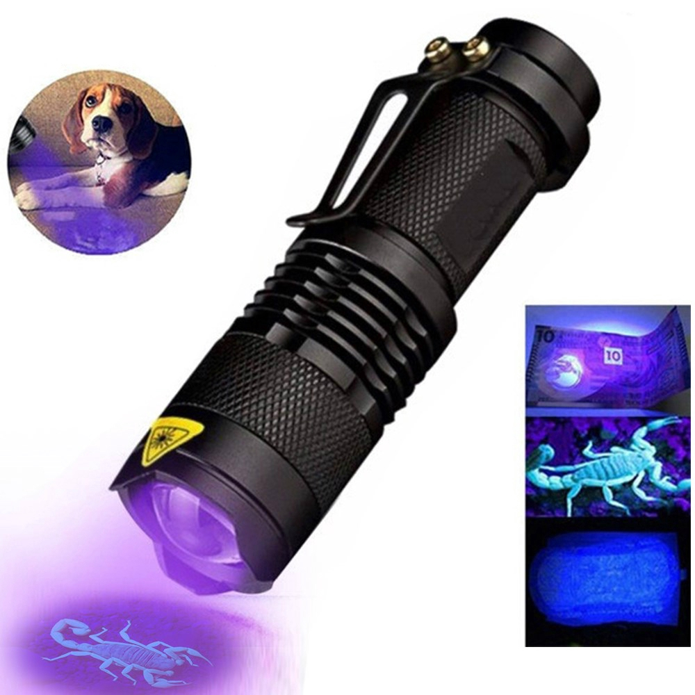 Q5 LED UV Flashlight Purple Light 395nm Lamp Fluorescence Detector Light MT