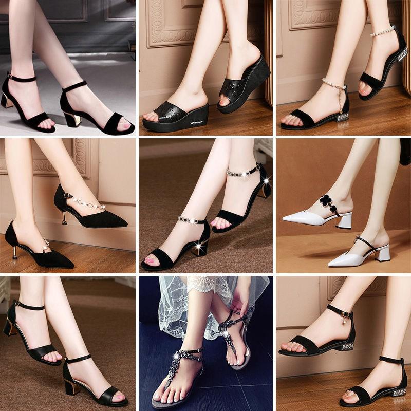 รองเท้าส้นสูง หัวแหลม ส้นเข็ม ใส่สบาย New Fshion รองเท้าคัชชูหัวแหลม  รองเท้าแฟชั่นรองเท้าแตะของผู้หญิงที่สะดวกสบาย, รอง