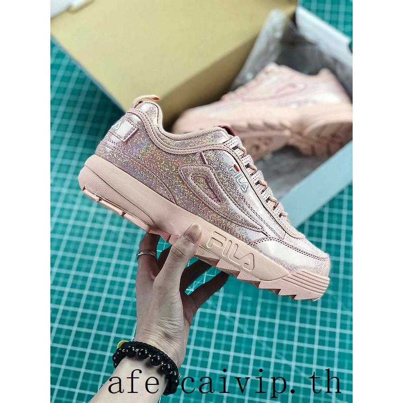 Original Fila DISRUPTOR II 2 รองเท้าวิ่งสีชมพู