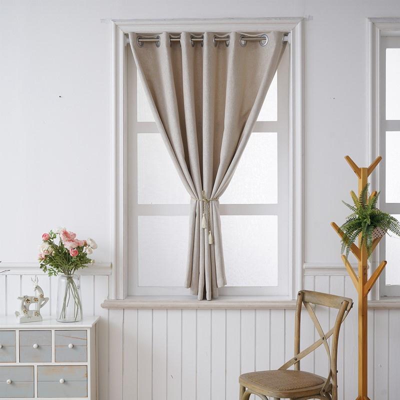 ม่านทึบ ม่านหน้าต่างอ่าวเล็กๆ เรียบง่าย แรเงาสำเร็จรูป ฟรี เจาะรู ติดตั้ง เช่าห้องนอน ผ้าม่านกันลมสไตล์นอร์ดิก