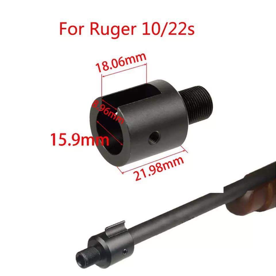 อะแดปเตอร์ต่อปลายลำกล้อง Ruger 10/22พร้อมฝาปิดเกียว เกียว 1/28 adapter ต่อลำกล้องปลายเกียว เกียวต่อปลายลำกล้อง ลูเกอร์10