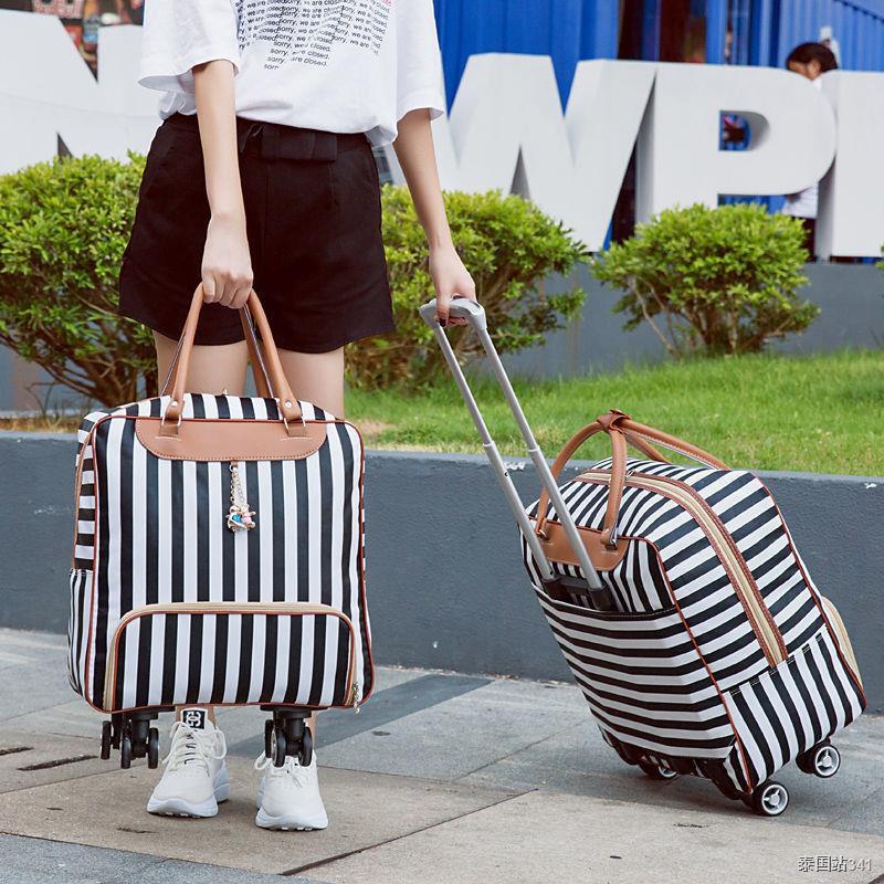Travel bags✉﹉กระเป๋า duffel กระเป๋ารถเข็นกระเป๋าเดินทาง หญิงความจุขนาดใหญ่เดินทางระยะสั้นกระเป๋าใบเล็กกันน้ำนักเรียน