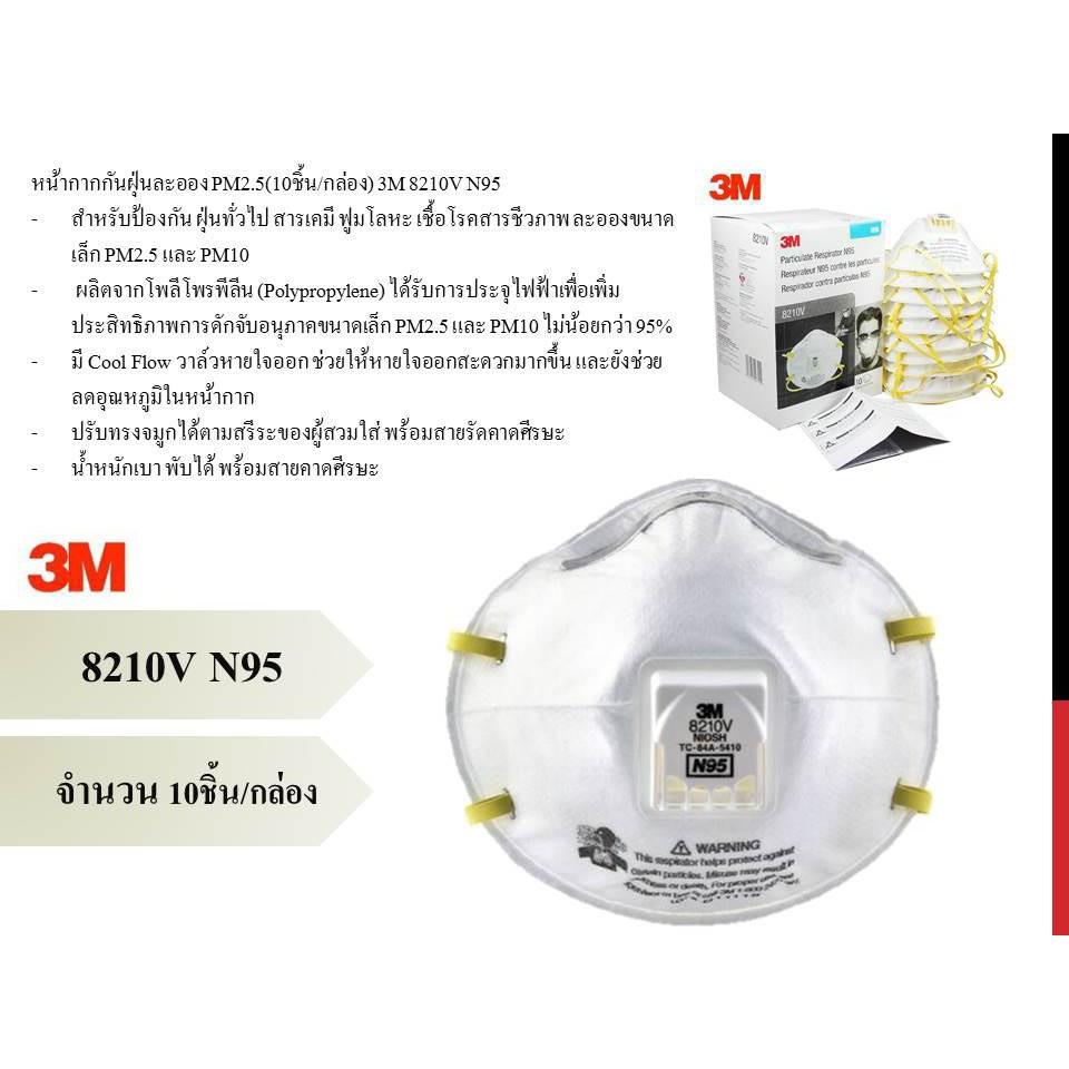หน้ากากอนามัย N95 ยี่ห้อ 3M รุ่น 8210V ( 1 กล่อง = 10 ชิ้น )