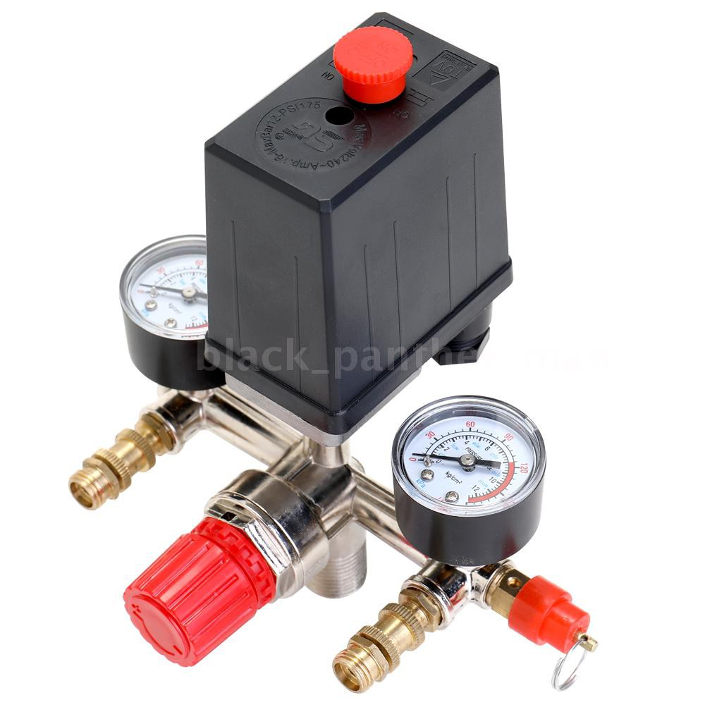 Max 125PSI Air Compressor Pressure Switch Control Valve Manifold Regulator Gauge