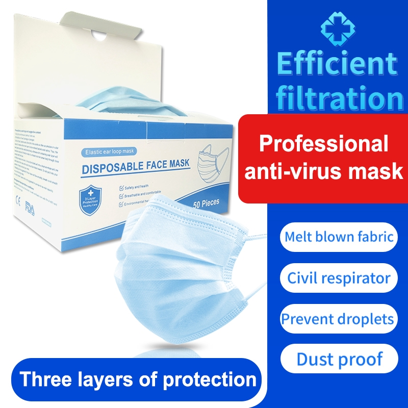 Disposable 3PLAY Face Mask*50PCS/BOX protective mask non surgical medical mask antifoam spray cloth adult student mask