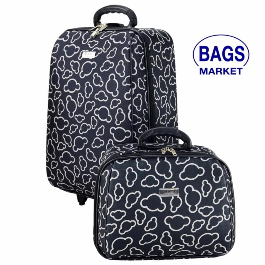 กระเป๋าเดินทาง กระเป๋าเดินทางล้อลาก Wheal เซ็ทคู่ 20/14 นิ้ว Code F7720-11 Micky Mouse (Bla กระเป๋าล้อลาก กระเป๋าเดินทาง