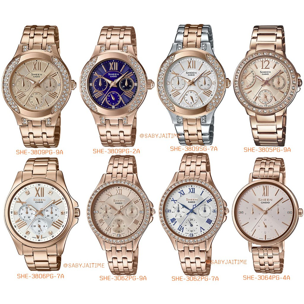 ☆แท้ศูนย์ CASIO SHEEN นาฬิกาข้อมือผู้หญิง สายสแตนเลส รุ่น SHE-3062PG  SHE-3064PG SHE-3809PG ประกันศูนย์♪