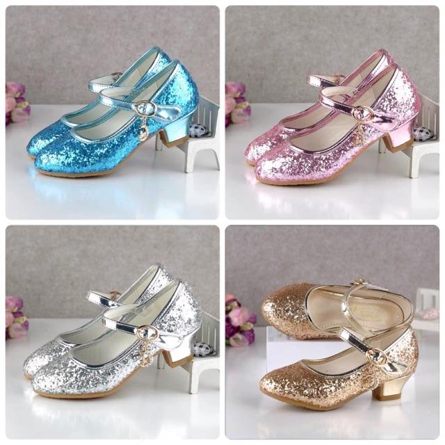 รองเท้าเด็กคัชชูเจ้าหญิง สีน้ำเงิน , ชมพู , เงิน , ทอง