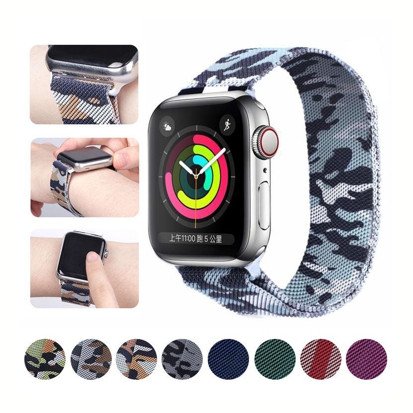 ลายพราง Milanese Loop Apple Watch Milan Tali 6 Band Multicolor Splicing 42 มม. 38 มม. 40 มม. 44 มม. สร้อยข้อมือสแตนเลสสำหรับ iwatch Series 5 4 3 2 1 6 SE