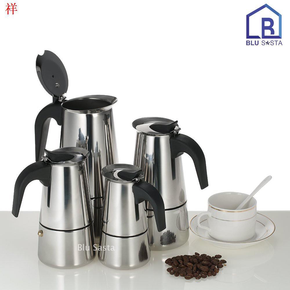¤❄∋Blu Sasta กาต้มกาแฟสดพกพาสแตนเลส ขนาด 9 ถ้วยเล็ก 450 มล. หม้อต้มกาแฟแรงดัน เครื่องทำกาแฟสด โมก้าพอท มอคค่าพอท moka