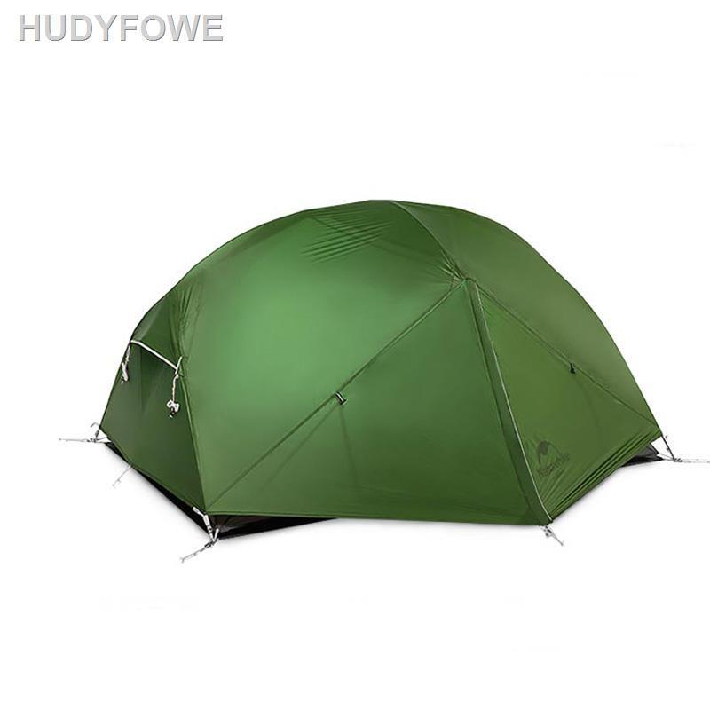 ▫﹍∈Naturehike Mongar 2 Persons Camping Tent 20D Nylon Fabric Double Layer Waterproof เต็นท์แคมปิ้งกลางแจ้ง NH17T007 M