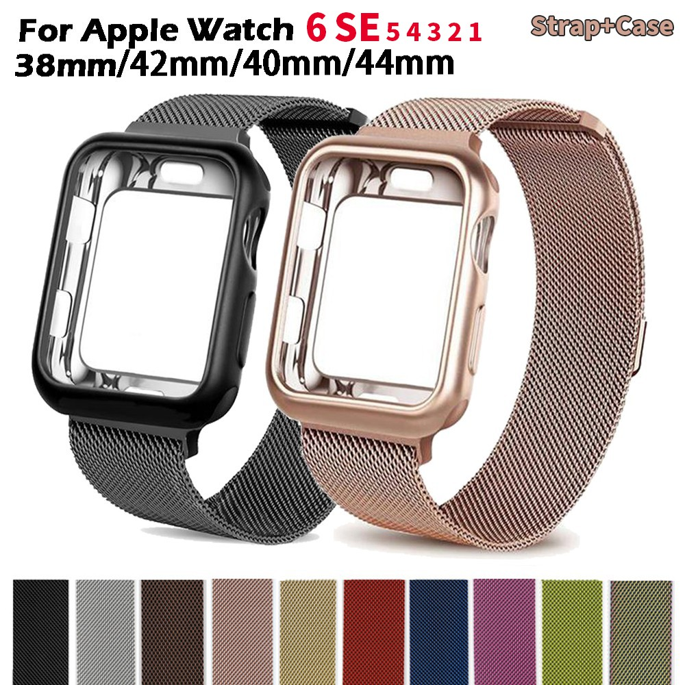 Milanese Watchband +Case For Apple Watch 6 se 5 4 44mm 40mm iWatch band 42mm 38mm Milanese Loop Bracelet
