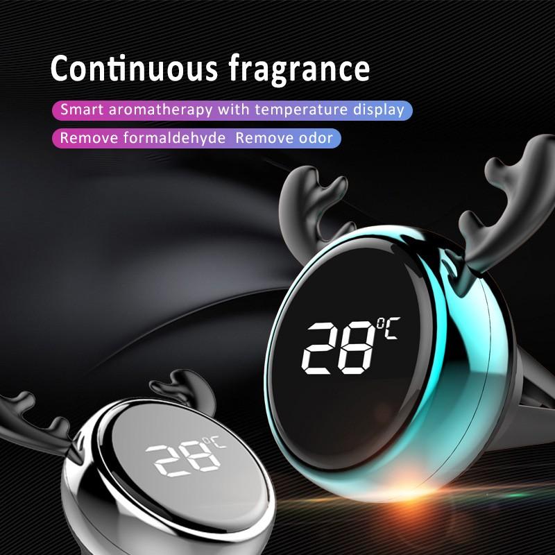 เครื่องวัดอุณหภูมิกลิ่นอัจฉริยะสำหรับช่องแอร์รถยนต์ น้ำมันหอมระเหยรถยนต์ เครื่องฟอกอากาศสำหรับรถยนต์ อุปกรณ์ภายในรถยนต์