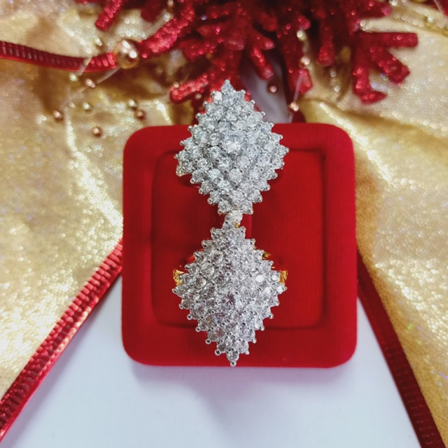 แหวน เพชร cz ข้าวหลามตัด ชุบทองไมครอน และทองคำขาว ราคาพิเศษ