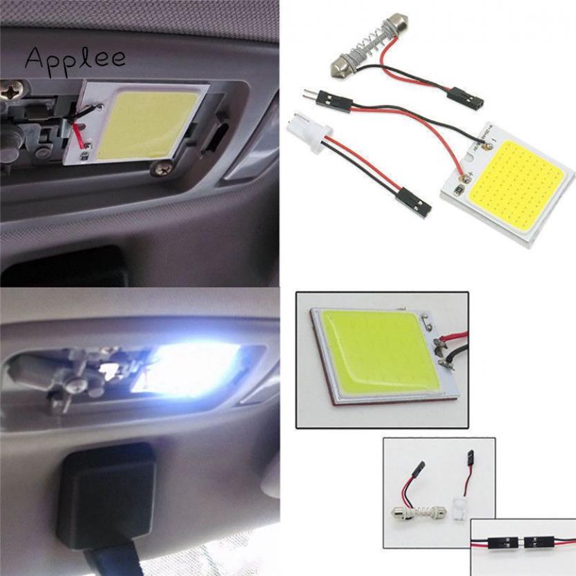 Applee 1Pc สีขาว 48 ซัง SMD LED T10 4W 12V แผงด้านในรถแผงหลอดไฟโดมแสง
