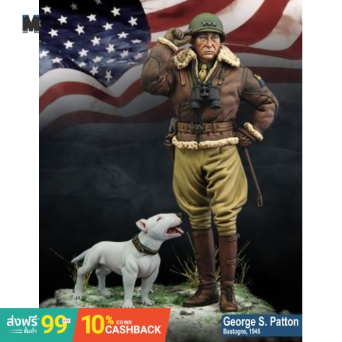 (In Stock)Unpainted Kit 1/24  75mm US General Patton and dog   soldier 75mm  Resin Figure miniature garage kit(Local shi