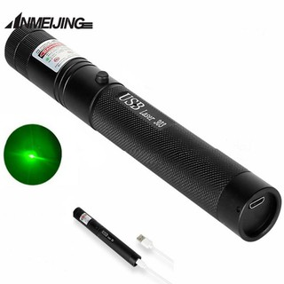 USB Laser 303 Single Point Green Red Blue Violet Flashlight Pointer ชาร์จได้