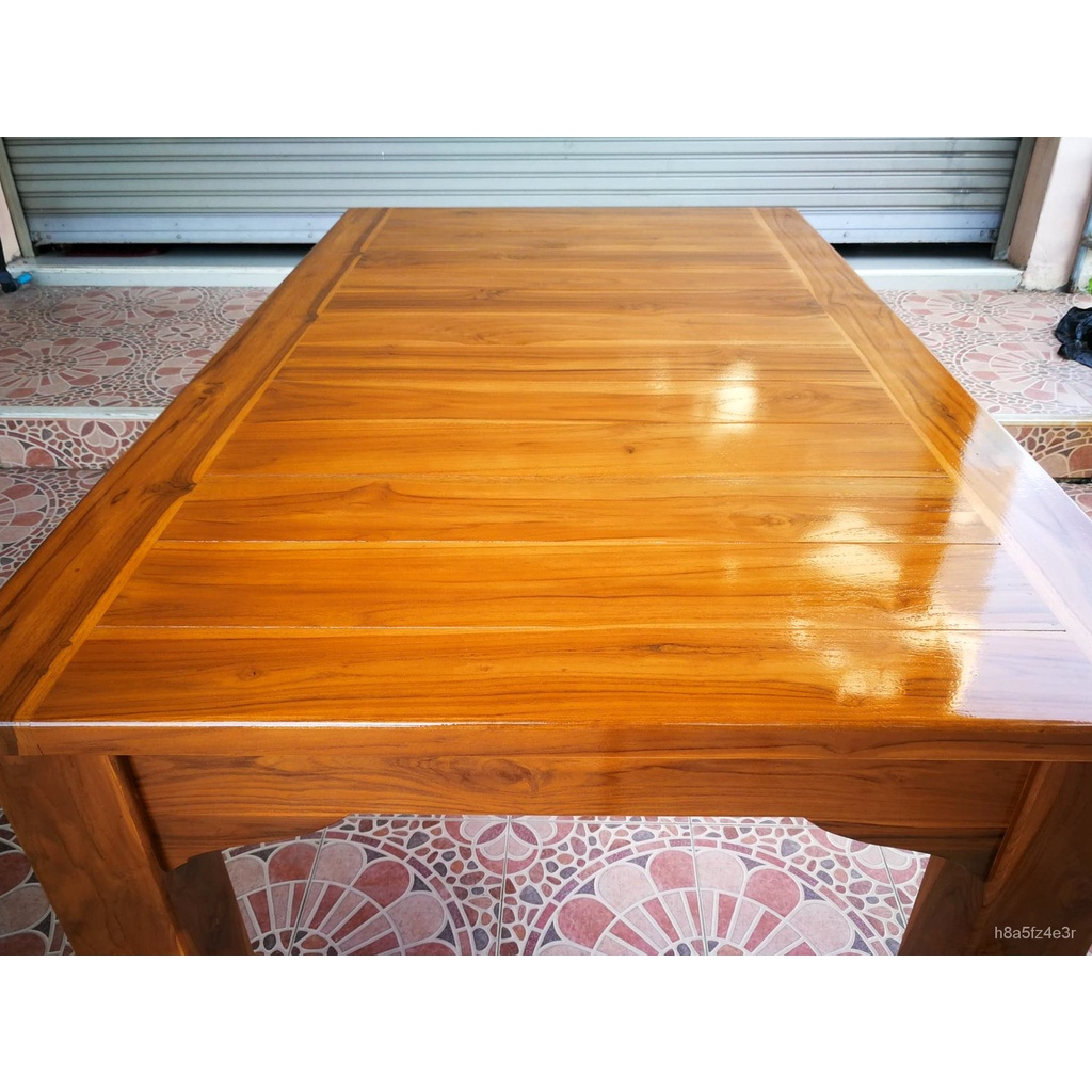 โต๊ะอาหาร โต๊ะกินข้าว ชุดโต๊ะกินข้าว ไม้สักทองทำจากไม้สักแท้100% ขนาด 90x150x80 ซม. ชุดเก้าอี้6ตัว ราคาย่อมเยาว์ งานดี ป