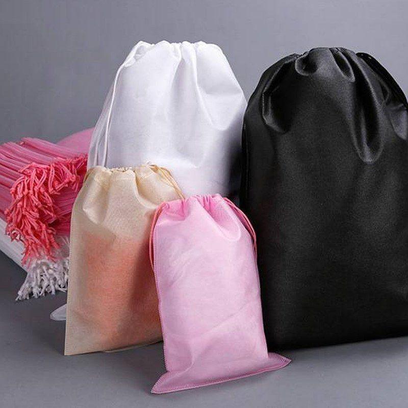?สินค้าพร้อมส่ง?ถุงผ้าสปันบอนด์หูรูดมี4ขนาด/ถุงจัดระเบียบ/ถุงเก็บของ