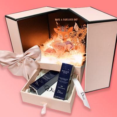 ゑℱDior Dior Lipstick 999 Lipstick Limited Edition กล่องของขวัญวันเกิดสำหรับแฟนของขวัญวันวาเลนไทน์หัวใจพิเศษ