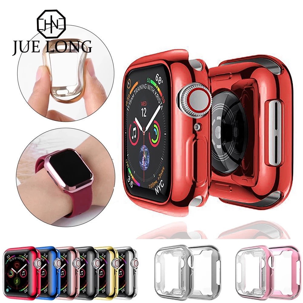 Watch Case For Apple Watch Series 6 SE 5 4 3 2 1 Case Silicone Soft Protective Full Cover For iWatch 42 38 40 44mm Accessories