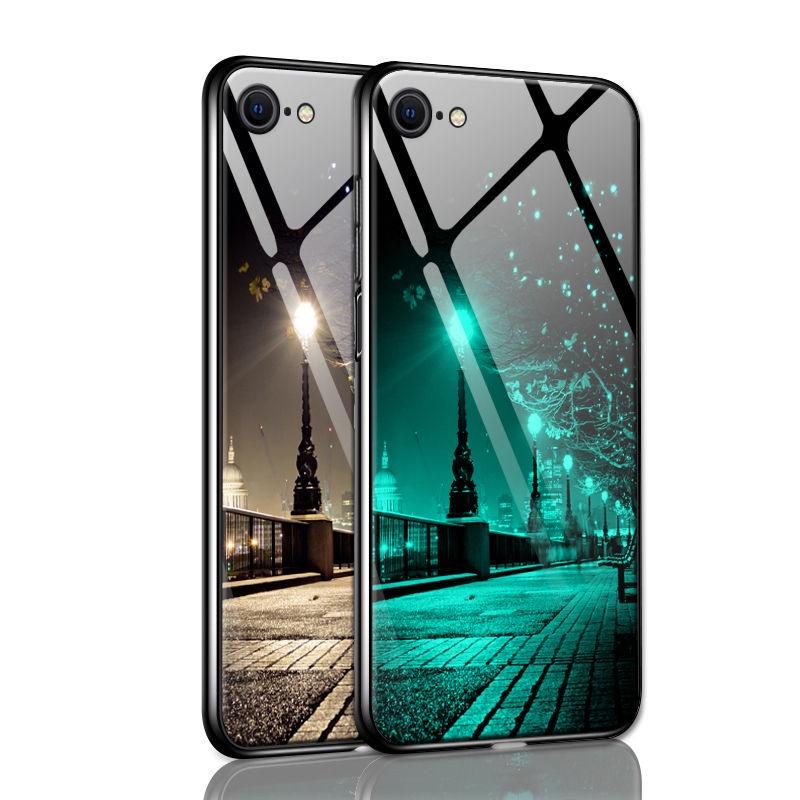 ☫เคสโทรศัพท์มือถือ Apple SE iphone SE กระจกส่องสว่าง iphone SE2 ฝาครอบป้องกันรุ่นที่สองผู้ชายกันตกรุ่นใหม่