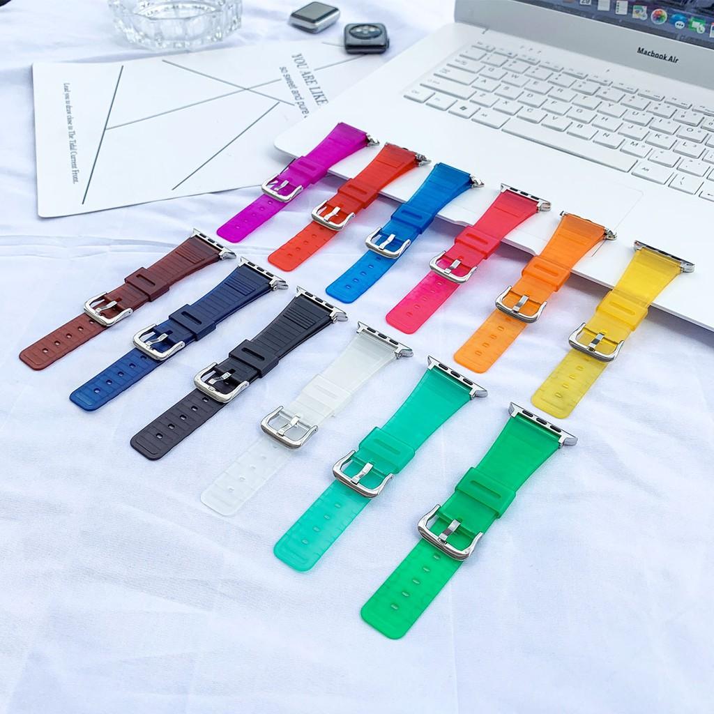 เคสนาฬิกา applewatchบังคับiwatchสาย Apple12345 SEสายซิลิโคนใหม่บางเฉียบโปร่งแสงtpuสายจุดapplewatch