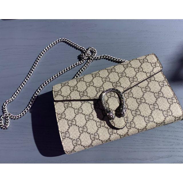 อังกฤษซื้อ GUCCI Gucci Dionysus GG Supreme แบบปุ่มพลิกมินิหัวเสือ WOC/กระเป๋าสะพายไหล่/กระเป๋า Bacchus