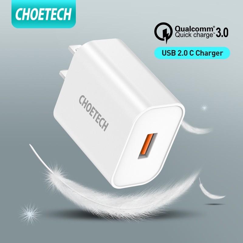 [CHOETECH] หัวชาร์จเร็ว QC3.0 อะแดปเตอร์ชาร์จแบตมือถือ USB 18W ใช้ได้โทรศัพท์ for Samsung Galaxy S10/S9/S8/S7/S6/Edge