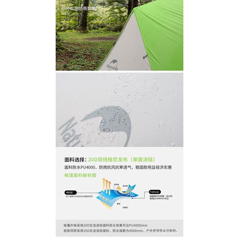 Naturehike New Mongar 2 Tent, 2 erson Caming Tent Outdoor Ultralight 2 Man Caming Tents With Vestibule TSOb