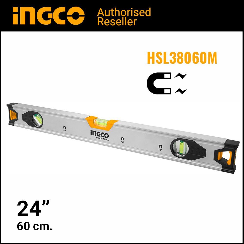 INGCO ระดับน้ำแม่เหล็ก 24 นิ้ว อลูมิเนียม รุ่น HSL38060M - ที่วัดระดับน้ำ แม่เหล็ก ไม้วัดระดับน้ำ อุปกรณ์วัดระดับน้ำ