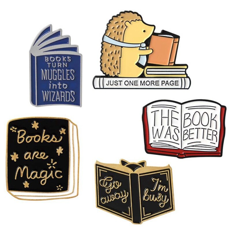 Books Are Magic The Book Was Better Just One More Page Enamel Pin Hedgehog Book Pin