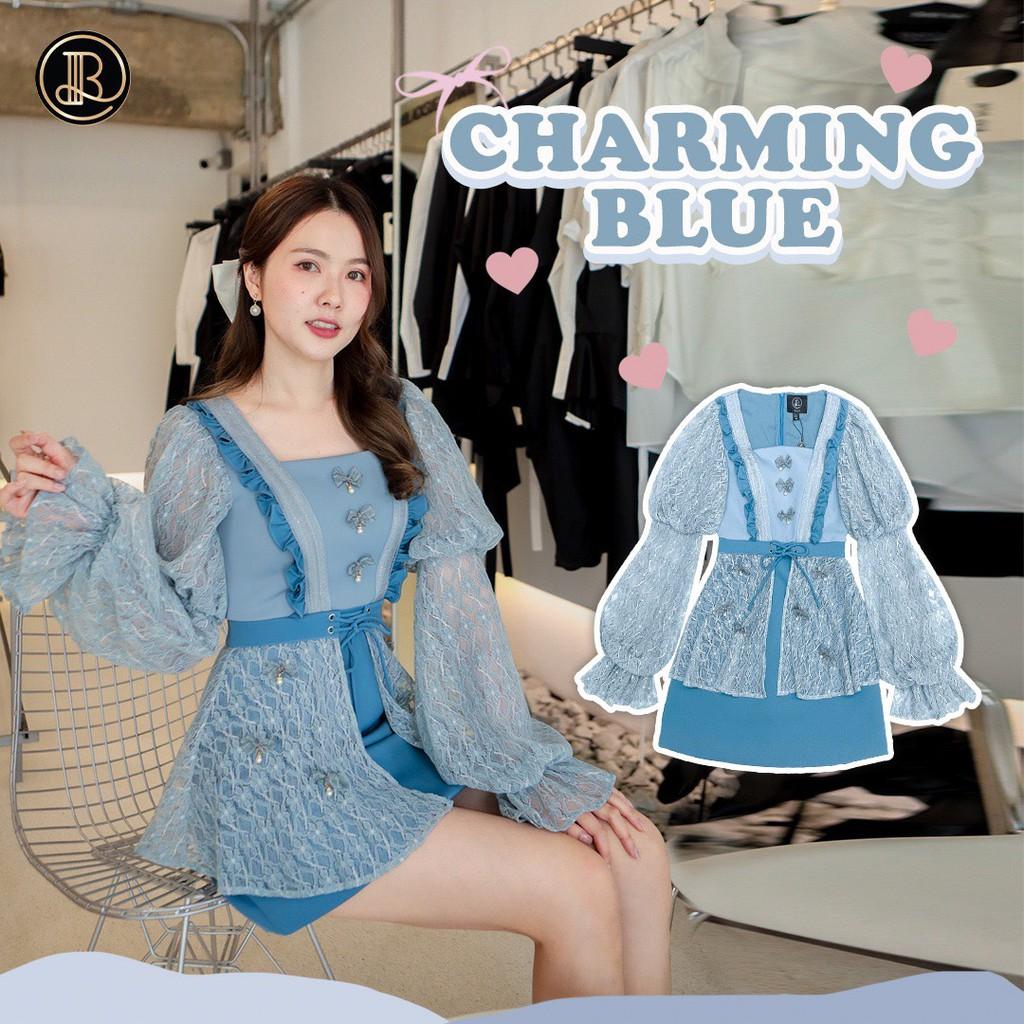 BLT BRAND การันตีเสื้อผ้าแบรนด์แท้ มินิเดรส สีฟ้าแขนยาว ลูกไม้ CHARMING BLUE Size Xs