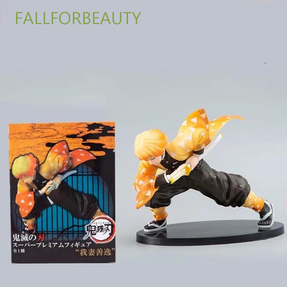 FALLFORBEAUTY Demon Blade Demon Slayer PVC Toy Agatsuma Zenitsu Figure Model Toys Doll Gift Action Figure 15cm Japanese