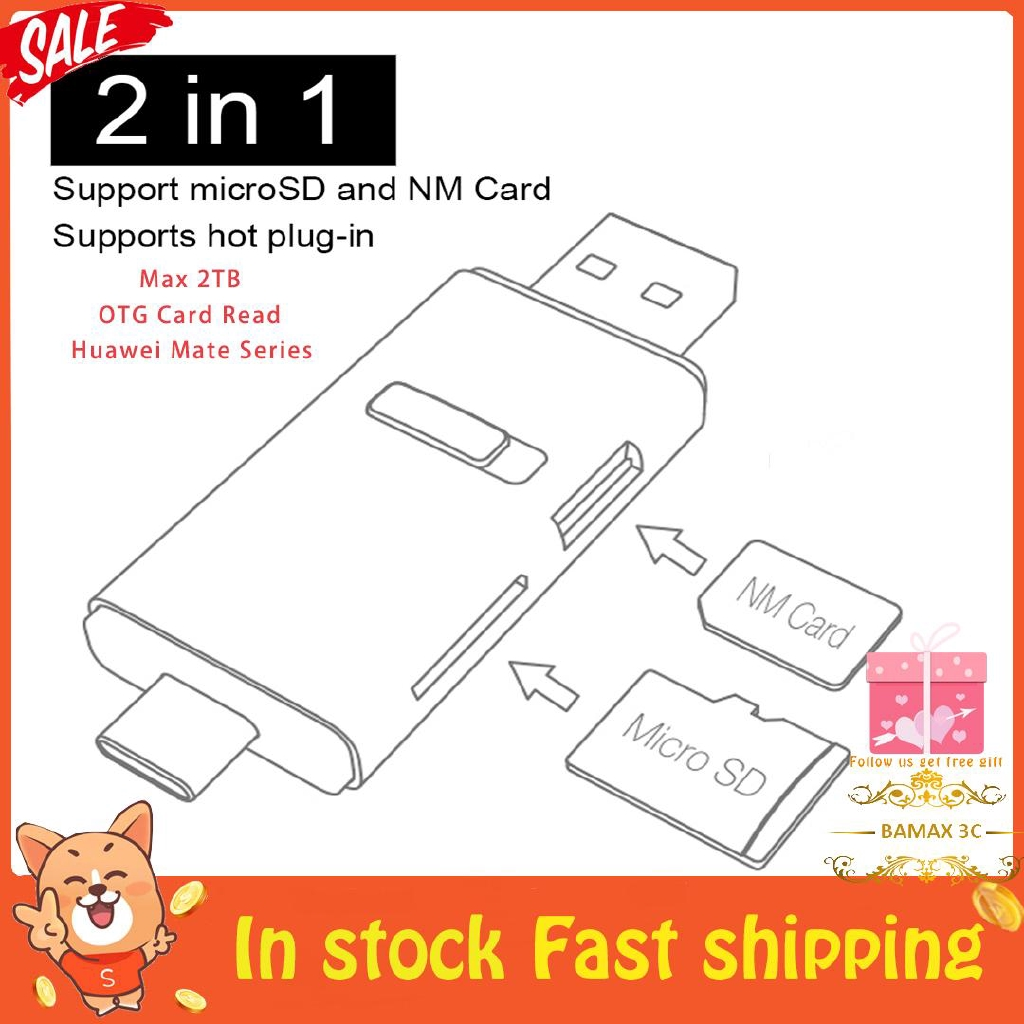 2 in 1 USB3 1 Micro & NM Memory Card Reader OTG Type-A/C for Huawei Mate  Series