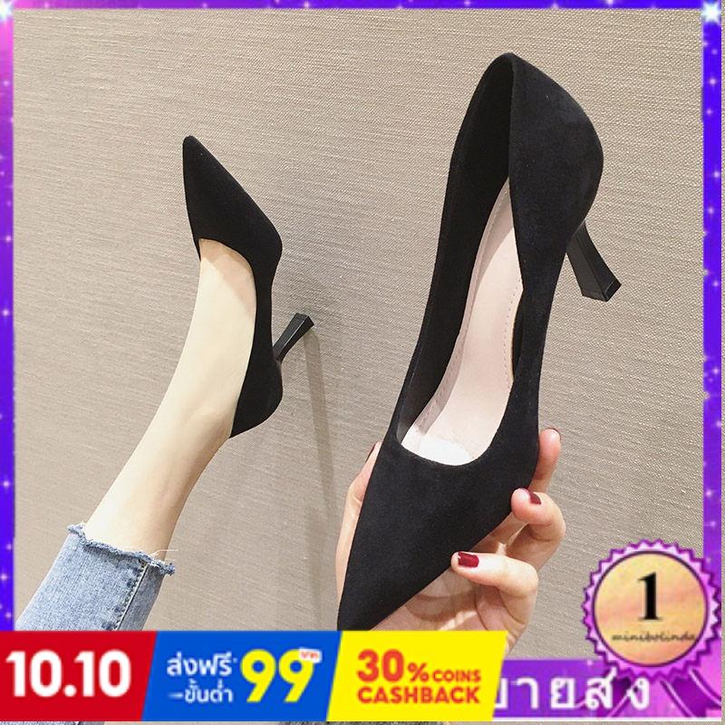 ⭐👠รองเท้าส้นสูง หัวแหลม ส้นเข็ม ใส่สบาย New Fshion รองเท้าคัชชูหัวแหลม  รองเท้าแฟชั่น41-42-43หลาใหญ่รองเท้าส้นสูงสีดำเพศ