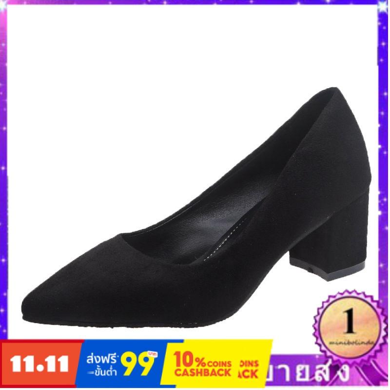 ⭐👠รองเท้าส้นสูง หัวแหลม ส้นเข็ม ใส่สบาย New Fshion รองเท้าคัชชูหัวแหลม  รองเท้าแฟชั่นรองเท้าส้นสูงสีดำเพศหญิงชี้ในหยาบกั