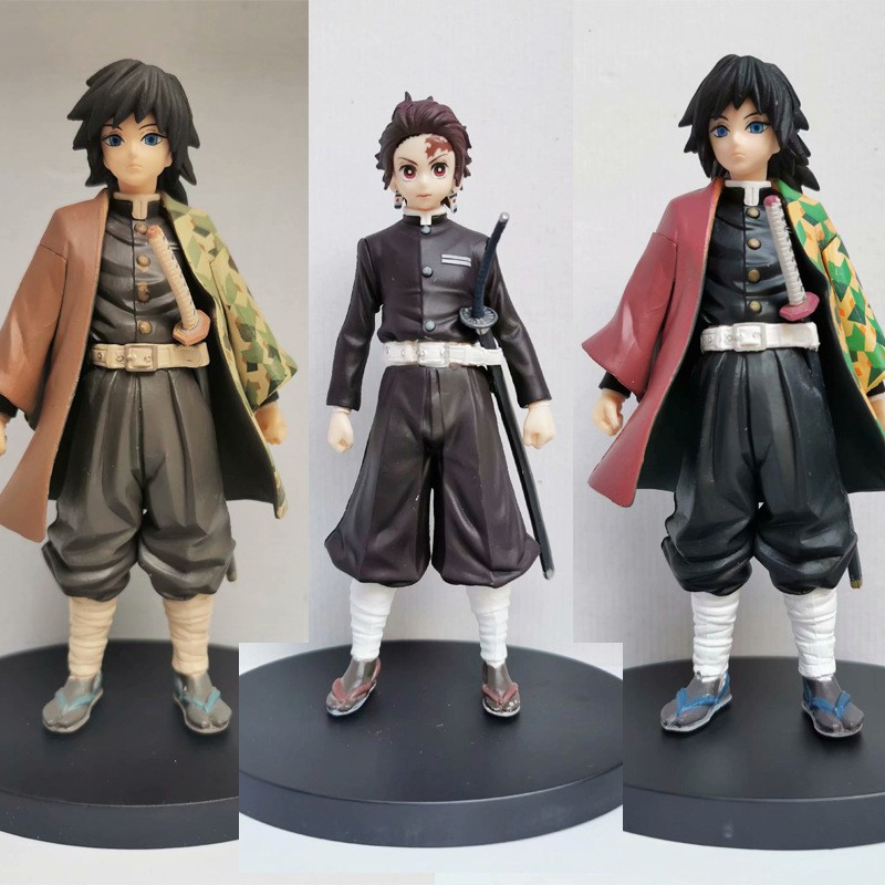 ☼∈ใบมีดของ Demon Slayer Tomioka Yoshiro Tanjiro Black Killing Clothes Set Model Scenery Figure Figures