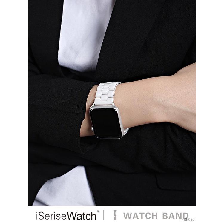 ☌✴❉ใช้กับ applewatch applewatch สายสแตนเลสเซรามิกสายโลหะ iwatch หัวเข็มขัดแบบธรรมดา