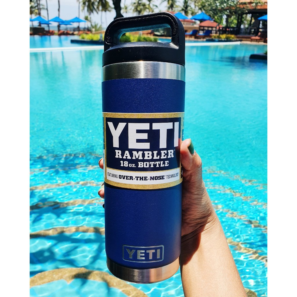 YETI RAMBLER แท้ขนาด18oz. #Blue Navi เก็บความเย็นได้นาน Keep Hot&Cold 24 Hrs. ใส่ได้ทั้งน้ำร้อนและน้ำเย็นนาน24ชม.