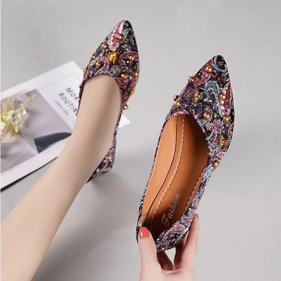 รองเท้าผู้หญิง🌷รองเท้าคัชชูเปิดส้น🌷รองเท้าคัชชู หัวแหลม🌷รองเท้าสีแดงปาก รองเท้าแฟชั่นผู้หญิง รองเท้าทำงาน