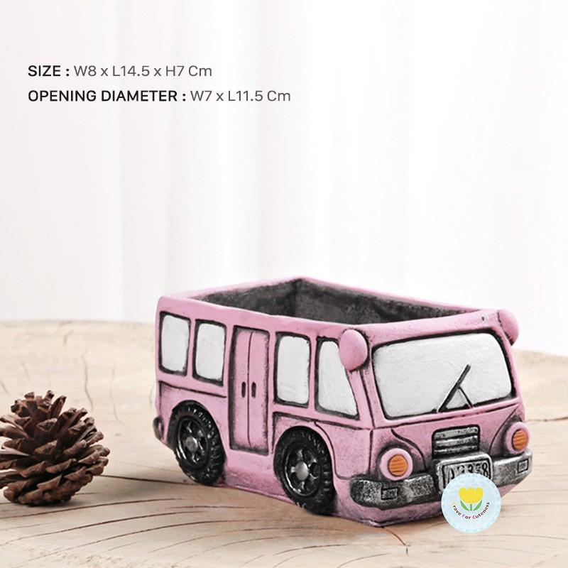 กระถางต้นไม้ รถบัส สีชมพู เหมาะสำหรับ กระบองเพชร / อวบน้ำ / ไม้ประดับ / ไม้มงคล