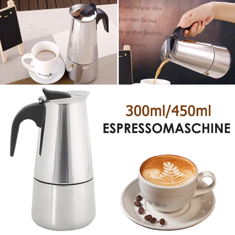 มอคค่าพอท รุ่นสแตนเลส เครื่องทำกาแฟสด กาต้มกาแฟสดแบบพกพาสแตนเลส หม้อต้มกาแฟแบบแรงดัน 300/450ml moka pot idealshop