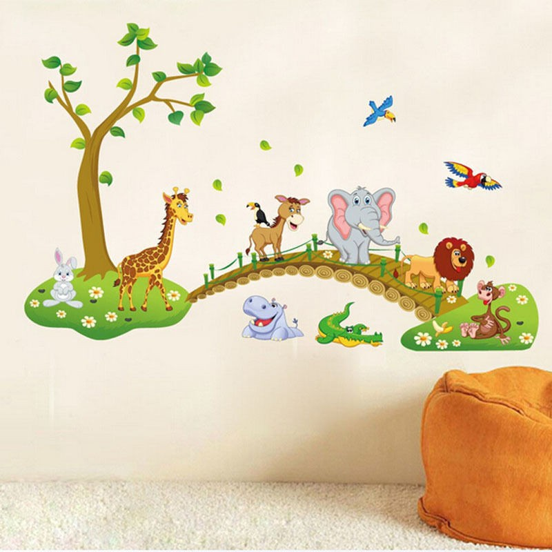 Wall stickers Kids Baby Children/'s Animals Trees Cute Owl Lion Jungle Nursery