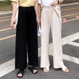 Review Women Wide Leg Pants Spring Fashion  Solid High Waist Loose  Casual Trousers Plus Size S-5XL