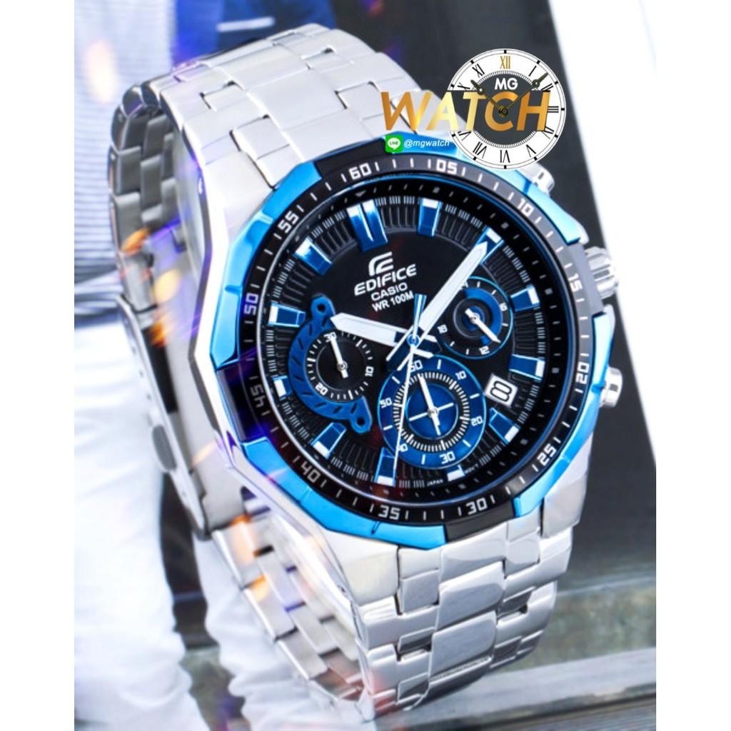 นาฬิกาข้อมือผู้ชาย Casio Edifice รุ่นสายสแตนเลส หน้าปัดดำ กระจกกันรอยขีดข่วน Mgwatch