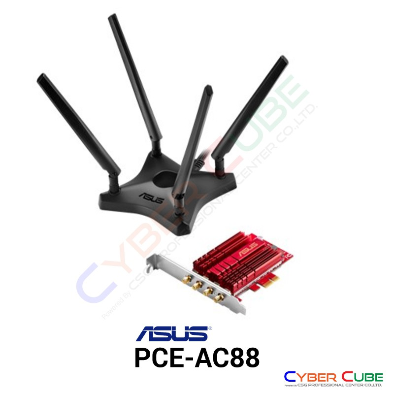 ASUS PCE-AC88 Dual-Band 4x4 AC3100 Wireless PCIe Adapter การ์ดไวไฟ