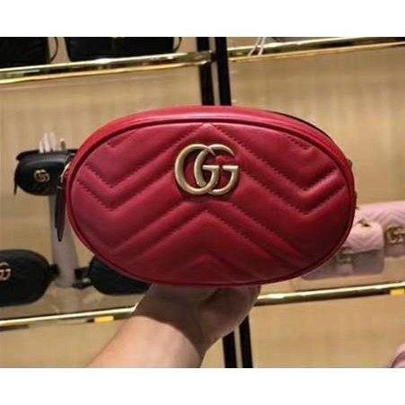 Gucci GG Marmont belt bag red Melody 476434 Women's key case