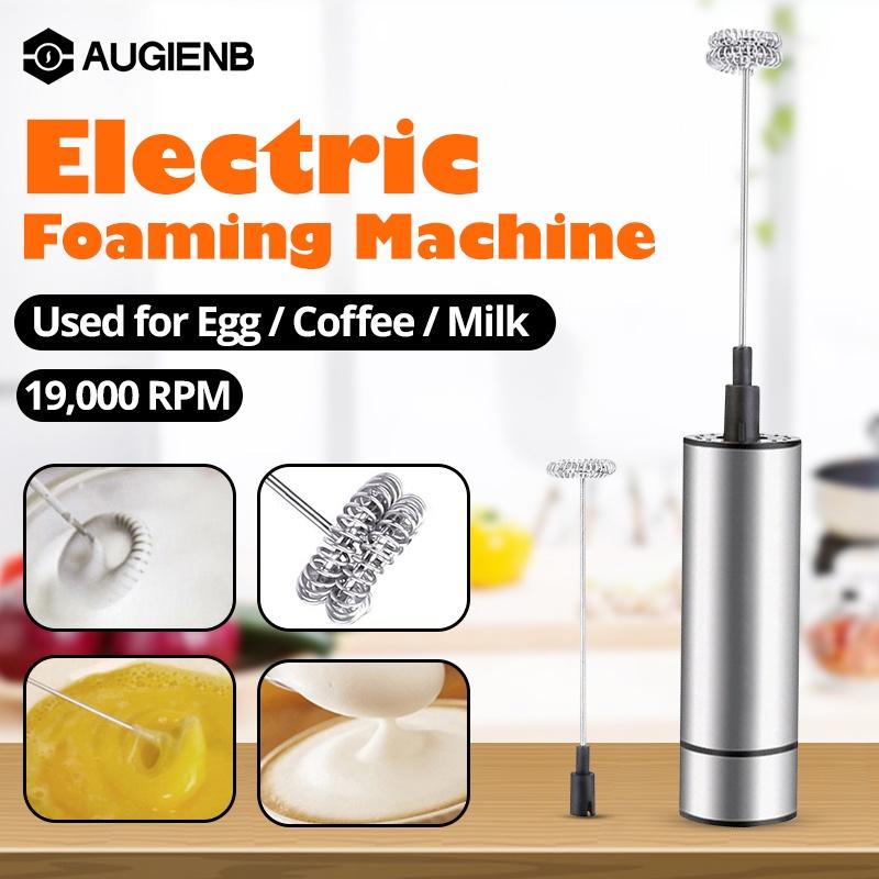 ﹍AUGIENB ไฟฟ้าเครื่องทำฟองเครื่องรีดนมแฟนซีกาแฟ Bubbler เครื่องผสมนมสแตนเลสเดี่ยวคู่ฟองนมหัวอัตโนมัติฟองนมครีมผสม19000Rp