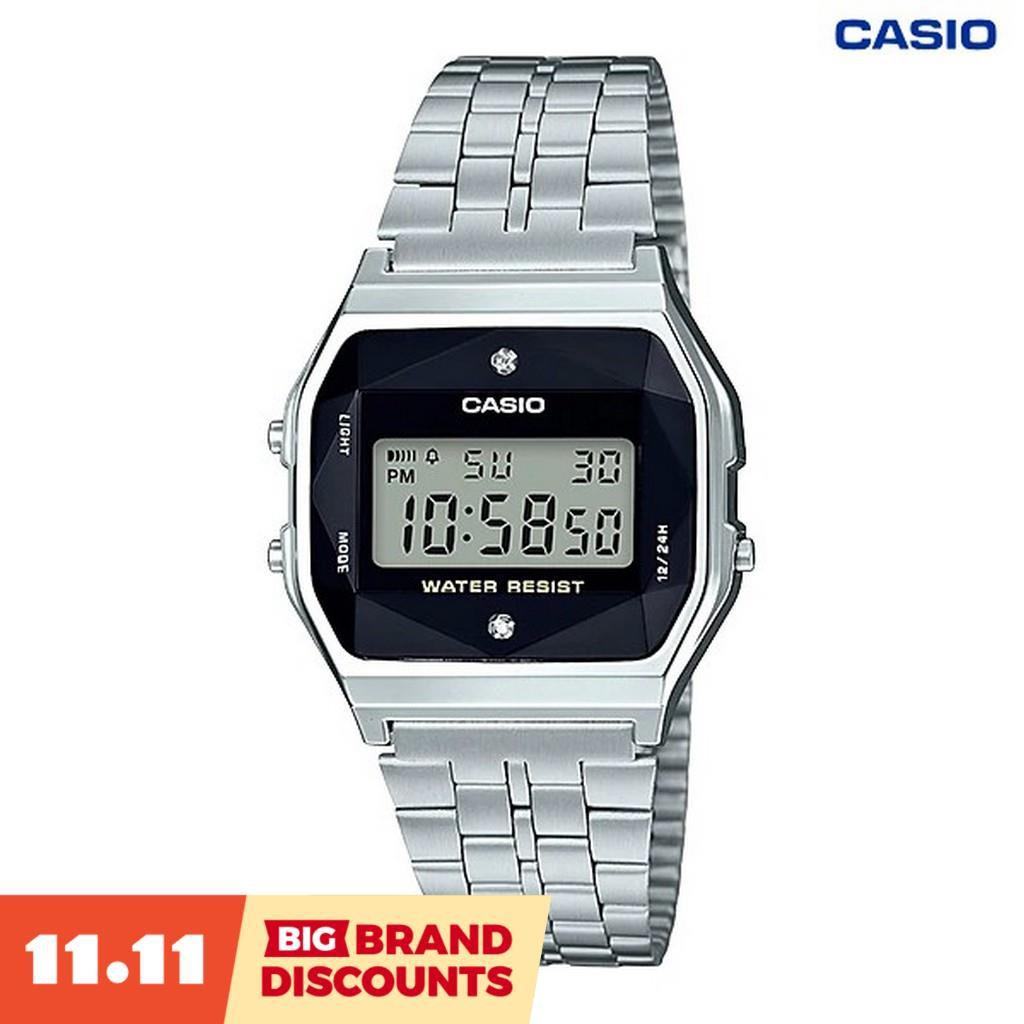 【BIG BRAND DISCOUNTS】Casio Made In Japan Casio Digital นาฬิกาข้อมือ เพชรกระจกตัดหลายเหลี่ยม สายสแตนเลส รุ่น A159Wad-1